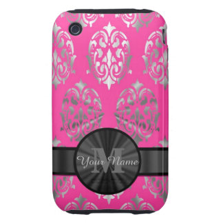 Pink and silver damask personalized monogram tough iPhone 3 covers