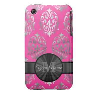 Pink and silver damask personalized monogram Case-Mate iPhone 3 cases