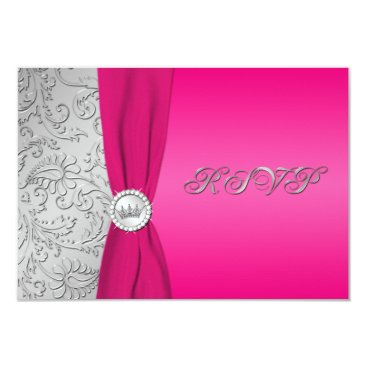 Pink and Silver Damask Quinceanera RSVP Card Personalized Announcements