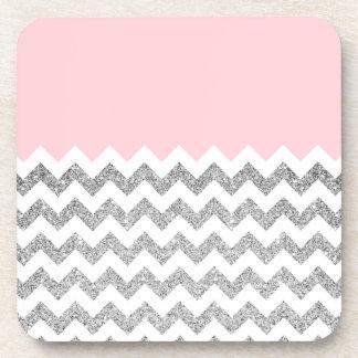 Pink and Silver Faux Glitter Chevron Beverage Coaster