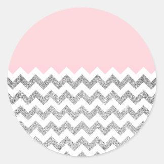 Pink and Silver Faux Glitter Chevron Classic Round Sticker
