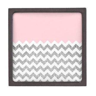 Pink and Silver Faux Glitter Chevron Gift Box