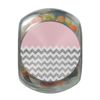 Pink and Silver Faux Glitter Chevron Glass Candy Jars