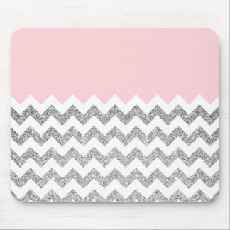 Pink and Silver Faux Glitter Chevron Mouse Pad