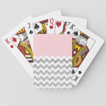 Pink and Silver Faux Glitter Chevron Playing Cards