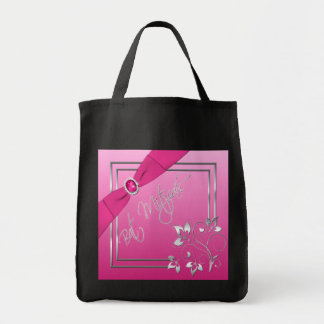 Pink and Silver Floral Bat Mitzvah Tote Bag