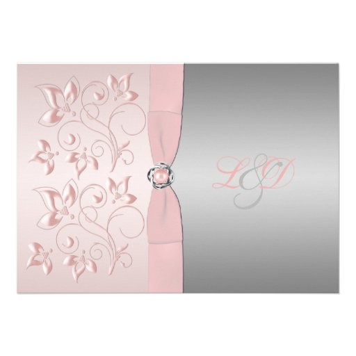 Pink and Silver Floral Monogrammed Invitation