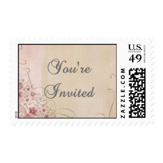 Pink and Silver Floral Ribbon Invitation Stamp