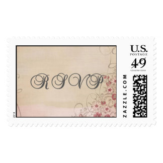 Pink and Silver Floral Ribbon RSVP Stamp