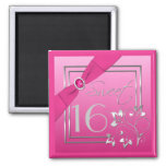 Pink and Silver Floral Sweet Sixteen Magnet