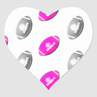 Pink and Silver Football Pattern Heart Sticker