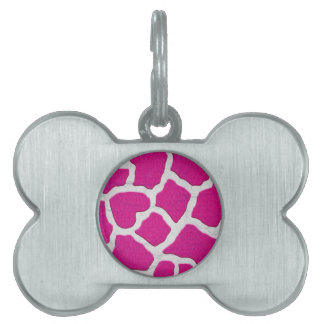Pink and Silver Giraffe Pet Name Tag