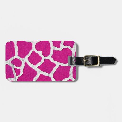 Pink and Silver Giraffe Travel Bag Tags