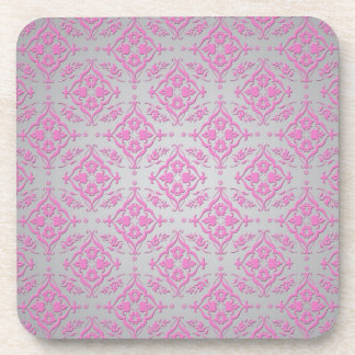 Pink and Silver Girly Damask Pattern Coaster