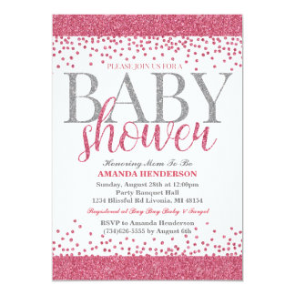pink and silver baby shower invitations announcements zazzle
