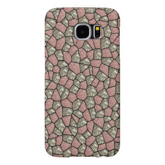 Pink and Silver Glitter Geometric Block Phone Case