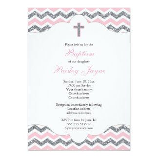Pink and Silver Glitter Girl Baptism Christening Card