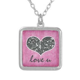 Pink and Silver Glitter Heart Love You Square Pendant Necklace