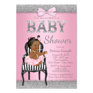 Pink and Silver Gray Ethnic Girl Baby Shower Card