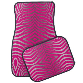 Pink And Silver Gray Zebra Stripes Pattern Car Floor Mat