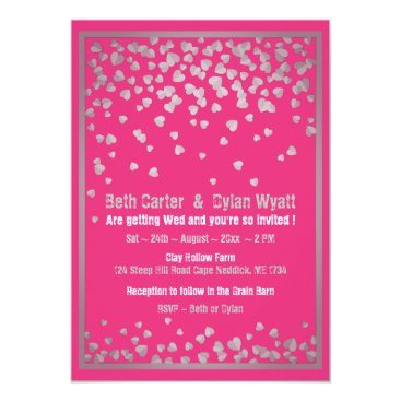 Wedding Themed Pink and Silver Heart Confetti Wedding Invitation