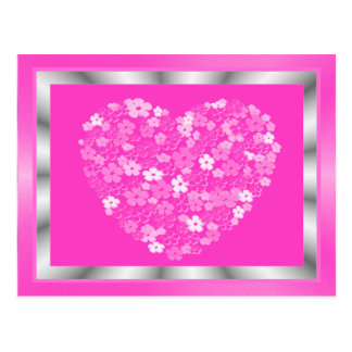 Pink and Silver Heart of Flowers Framed Postcard