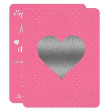 McTiffany Tiffany Aqua Pink And Silver Heart & Polka Dot Party Invitation