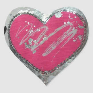 Pink and silver Heart Stickers