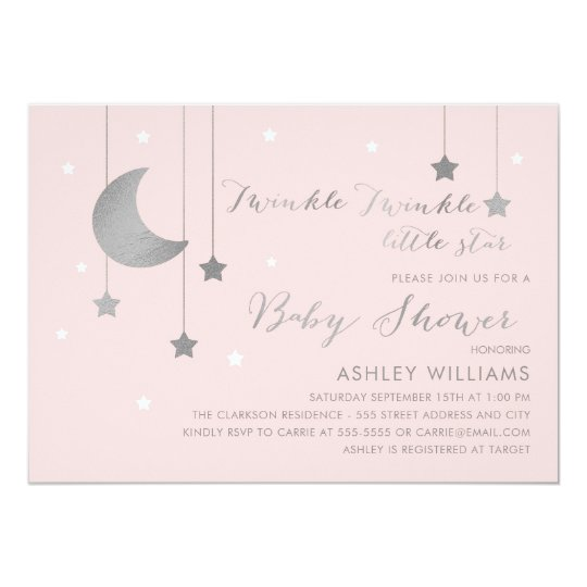 Pink And Silver Moon And Stars Baby Shower Invitation Zazzle