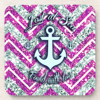 Pink and silver nautical chevron products. coaster
