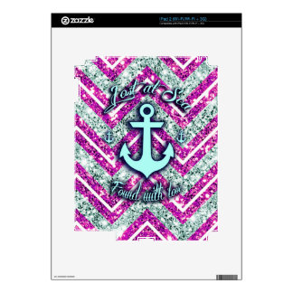 Pink and silver nautical chevron products. decal for the iPad 2
