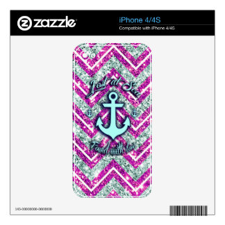 Pink and silver nautical chevron products. decal for the iPhone 4S