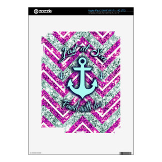 Pink and silver nautical chevron products. iPad 3 decals