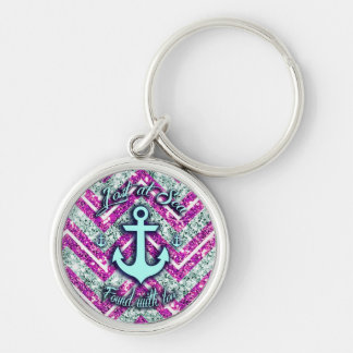 Pink and silver nautical chevron products. keychain