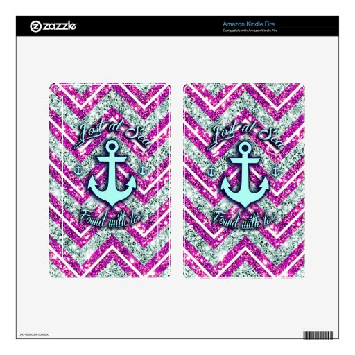 Pink and silver nautical chevron products. skins for kindle fire