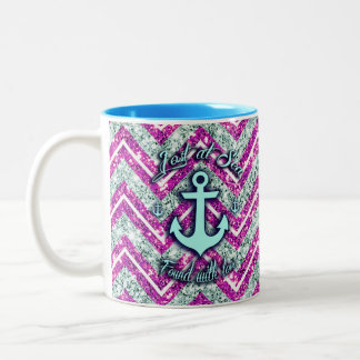 Pink and silver nautical chevron products. Two-Tone coffee mug