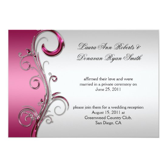 Pink and Silver Ornate Swirls Post Wedding Invitation