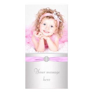 Pink and Silver Photo Thank You Card