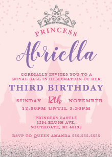 Pink And Silver Princess Birthday Invitation