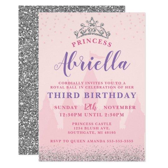Pink and silver princess birthday invitation zazzle pink and silver princess birthday invitation filmwisefo