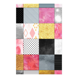Pink and Silver Quilt Stationery