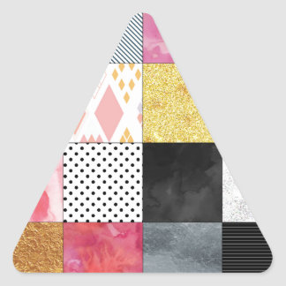 Pink and Silver Quilt Triangle Sticker