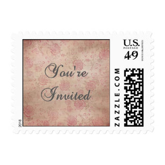 Pink and Silver Rose Invitation Stamp (Small)