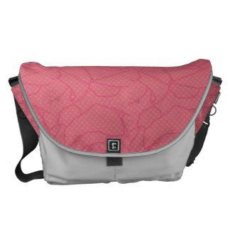 Pink and Silver Rose Print Messenger Bag