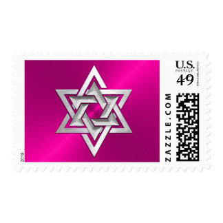 Pink and Silver Star of David Postage