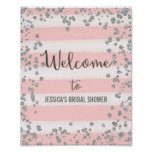 Pink and Silver Welcome Poster Print