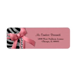 Pink And Silver Zebra Stripe With Silver Pearls Label