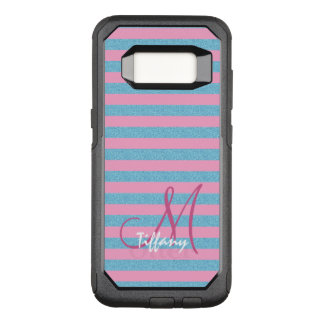 Pink and sky blue aqua glitter stripes monogram OtterBox commuter samsung galaxy s8 case
