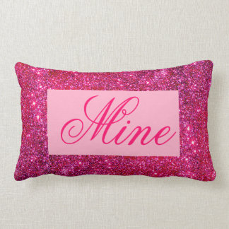 Pink and Sparkly Girly Modern Travel Pillow Mine