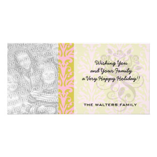pink and spring green intricate damask pattern customized photo card